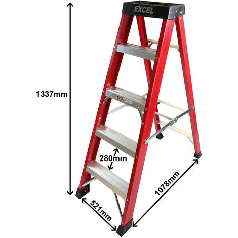 Excel Electricians Fibreglass Step Ladder 5 Tread 1.33m Heavy Duty