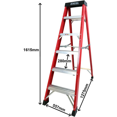 Excel Electricians Fibreglass Step Ladder 6 Tread 1.62m Heavy Duty