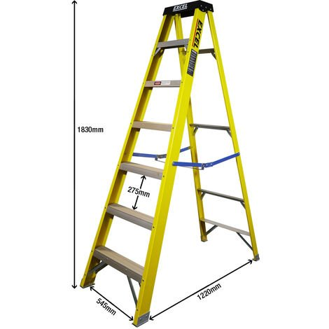 Excel Electricians Fibreglass Step Ladder 7 Tread 1.83m Heavy Duty