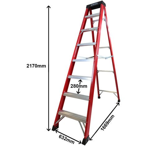 Excel Electricians Fibreglass Step Ladder 8 Tread 2.17m Heavy Duty