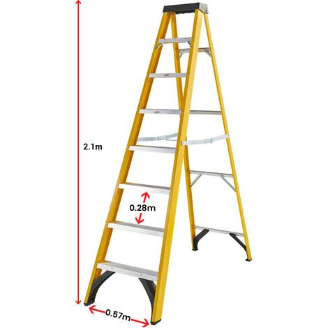 Excel Electricians Fibreglass Step Ladder 8 Tread 2.1m Heavy Duty