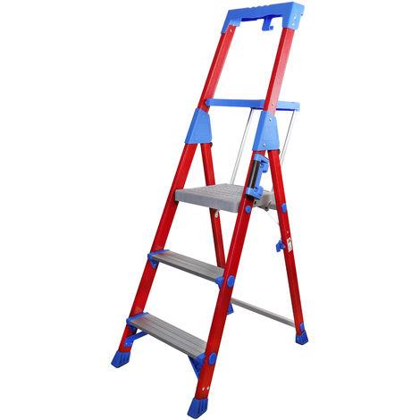 Excel Fibreglass Step Ladder 3 Tread Pro Series Electrician Ladder 1.45M