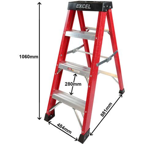 Excel Fiberglass Step Ladder 4 Tread Heavy Duty Pro Series Electrician Ladder 1.06M