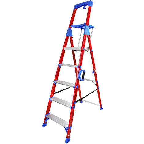 Excel Fibreglass Step Ladder 5 Tread Pro Series Electrician Ladder 1.97M