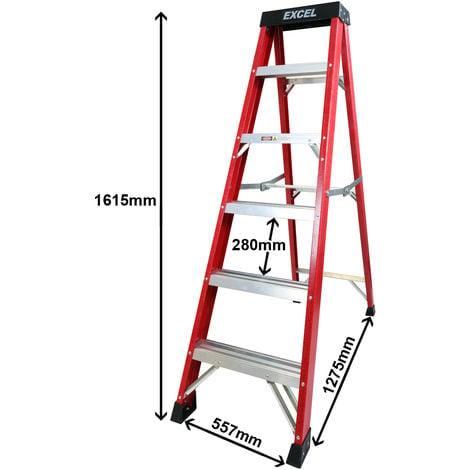Excel Electricians Fibreglass Step Ladder 6 Tread 1.62m Heavy Duty