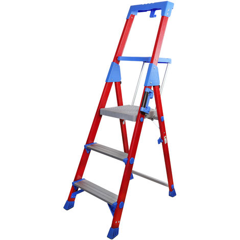 Excel Fibreglass Step Ladder 3 Tread Pro Series Electrician Ladder 1.45M