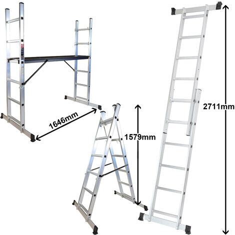 Excel HD Aluminium Scaffold Ladder Multi-purpose 3 in 1 With Scaffold Work Platform