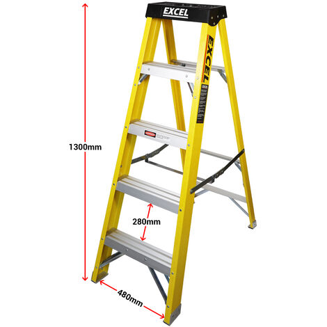Excel HD Electricians Fiberglass Step Ladder 5 Tread 1.3M