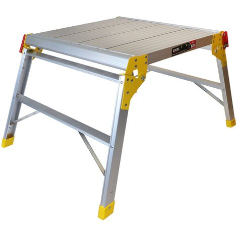Excel Heavy Duty Aluminium Platform Work Bench Folding Hop Up Stool 600mm x 600mm