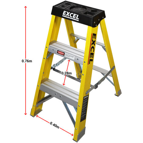 Excel Electricians Fibreglass Step Ladder 3 Tread 0.76m Heavy Duty