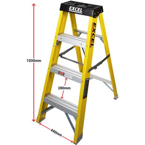 Excel Heavy Duty Electricians Fibreglass Step Ladder 4 Tread 1.03M