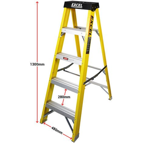 Excel Heavy Duty Electricians Fibreglass Step Ladder 5 Tread 1.3M