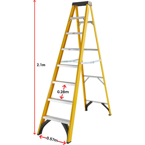 Excel Heavy Duty Electricians Fibreglass Step Ladder 8 Tread 2.1M