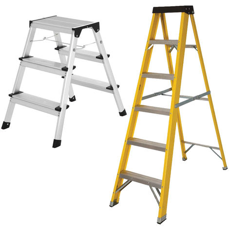 Excel Heavy Duty Fibreglass 6 Tread Ladder with 3 Step Hop Up Ladder