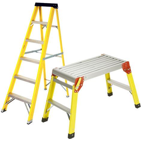 Excel Heavy Duty Fibreglass 6 Tread Ladder with Folding Hop Up