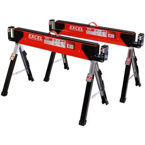 Excel Heavy Duty Steel Saw Horse Adjustable Twin Pack