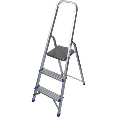 Excel Household 3 Step Foldable Aluminium Ladder Safety Non-Slip Lightweight 0.63m