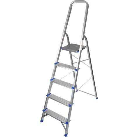 Excel Household 5 Step Foldable Aluminium Ladder Safety Non-Slip Lightweight 1.06m