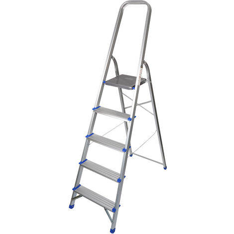 Excel Household 5 Step Foldable Aluminium Ladder Safety Non-Slip Lightweight 1.1m