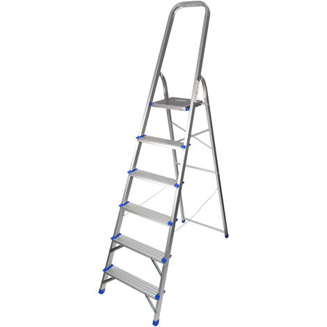 Excel Household Aluminium Step Ladder 6 Tread 1.28m Non-Slip Lightweight