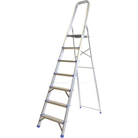 Excel Household 7 Step Foldable Aluminium Ladder Safety Non-Slip Lightweight 1.45m