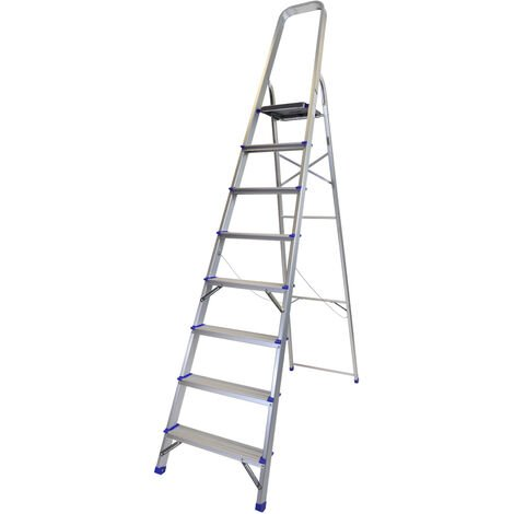 Excel Household 8 Step Foldable Aluminium Ladder Safety Non-Slip Lightweight 1.68m