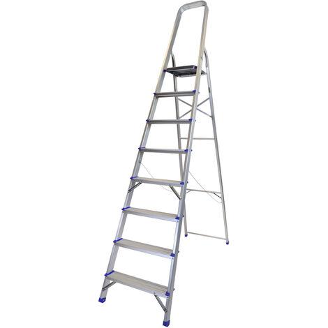 Excel Household 8 Step Foldable Aluminium Ladder Safety Non-Slip Lightweight 1.68m