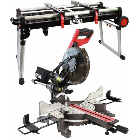 "Excel Mitre Saw 10"" Compound Sliding Double Bevel Laser Cut with Folding Workbench Platform"