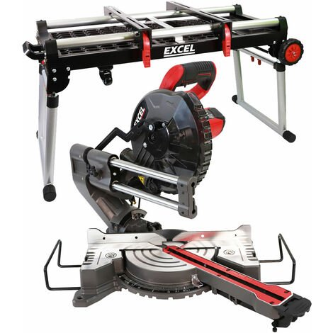 Excel Mitre Saw 216mm Compound Sliding Bevel Laser Cut with Folding Workbench Platform