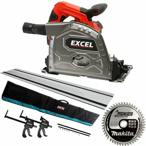 Excel Plunge Saw 165mm 240V 1 x Rail Connector Clamp & Bag Extra 1 x Makita Blade