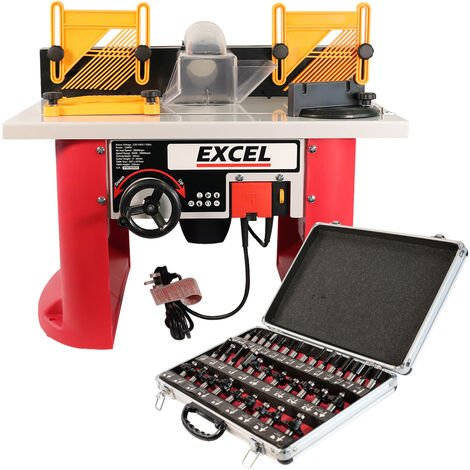 """main image of """"Excel Table Router Cutter 240V with 1/2in Shank Router Cutter Bit 35 Piece Set"""""""