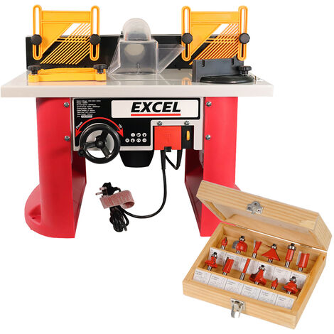 """main image of """"Excel Table Router Cutter 240V with 1/2in Shank TCT Cutter 12 Piece Bit Set"""""""