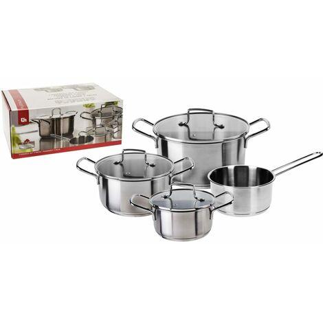 Excellent Houseware 4 Piece Casserole Set Stainless Steel Silver