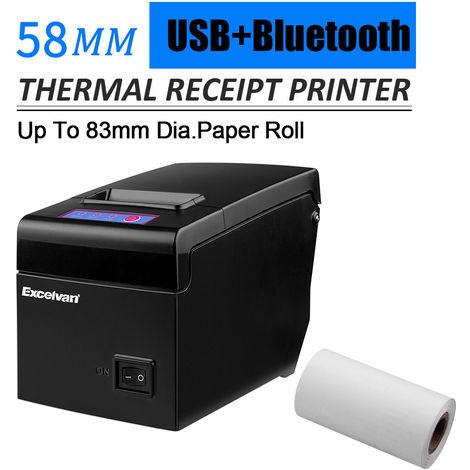 Excelvan Bluetooth 58mm Thermal Receipt Printer suitalble pour 83mm dia. rouler noir