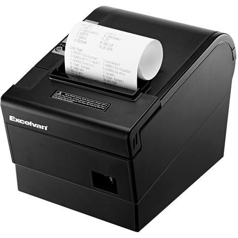 Excelvan Imprimante ticket thermique 80 mm 220 mm / s, étiqueteuse à découpage automatique, ESC / POS