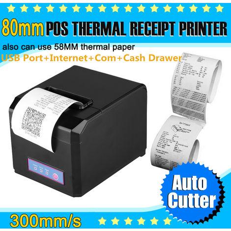 Excelvan Noir 300mm / sec 80mm Port USB Ethernet Sériel Imprimante Thermique AUTO-CUT EU