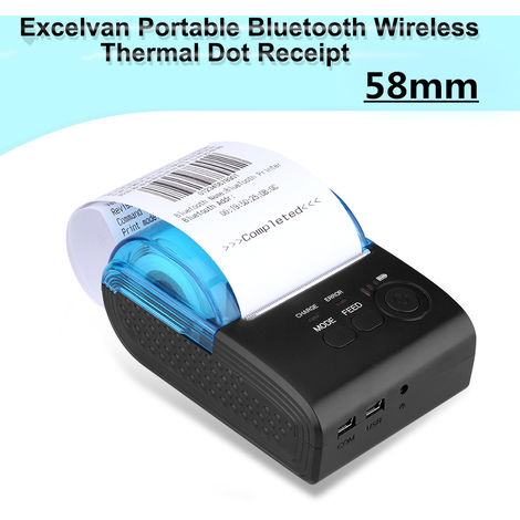 Excelvan Portable Bluetooth sans fil 58mm Imprimante de reçus à points thermiques