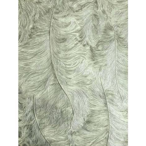 Exclusive luxury wallpaper Profhome 822201 vinyl wallpaper embossed with feather pattern shiny grey pastel-green 5.33 m2 (57 ft2)