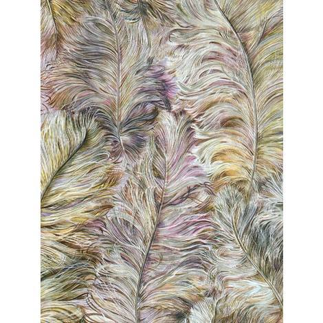 Exclusive luxury wallpaper wall Profhome 822205 vinyl wallpaper embossed with feather pattern shiny violet antique-pink golden-yellow silver 5.33 m2 (57 ft2)