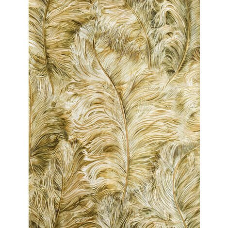 Exclusive wallpaper wall Profhome 822206 vinyl wallpaper embossed with feather pattern shiny gold light-ivory fern-green 5.33 m2 (57 ft2)