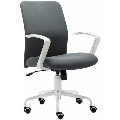 Executive Bürostuhl, Arbeitshocker, Chefsessel, 360°drehbarer Computerstuhl, Sitzhocker, Schreibtischstuhl, Bürohocker mit modernem Design Armlehnen und verchromte Basis, Grau-IWMH