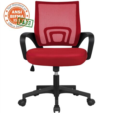 Executive Desk Chair Adjustable and Swivel Home Office Chair Red