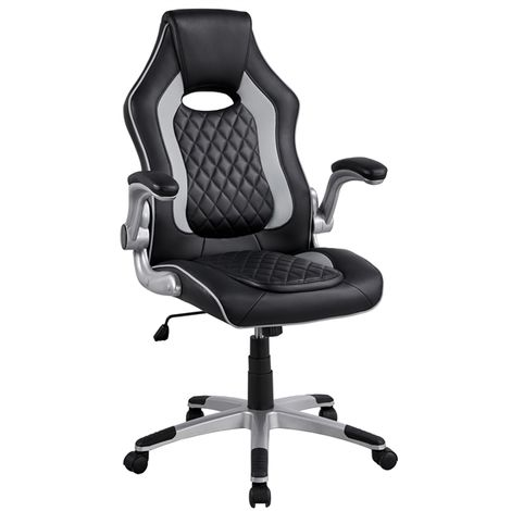 Executive Gaming Chair, High Back Racing Chair with Adjustable Armest Ergonomic Computer Desk Chair Swivel Chair for Home Office Grey