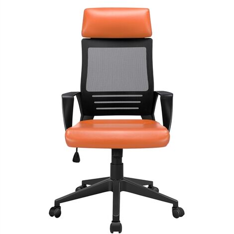 Executive Office Chair Ergonomic Mesh Computer Chair Adjustable Desk Chair with Lumbar Support and PU Leather Paded Seat