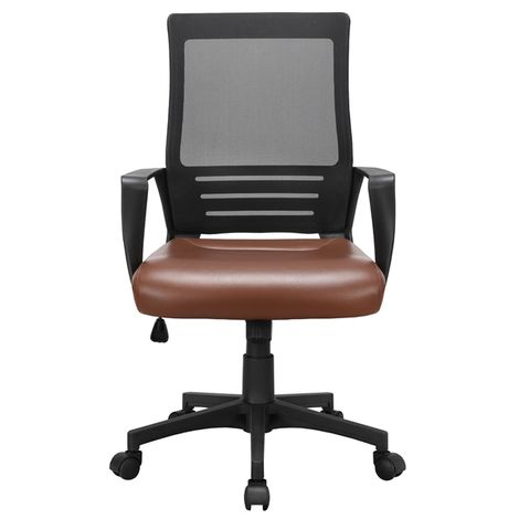 Executive Office Chair with Leather Padded Seat and Mesh Back Ergonomic Desk Chair with Lumbar Support