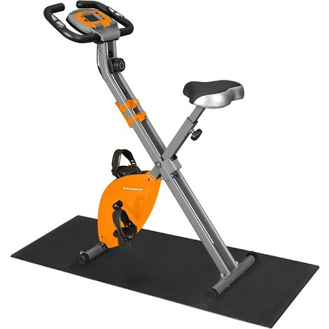 Exercise Bike, Fitness Bicycle, Foldable Indoor Trainer, 8 Magnetic Resistance Levels, with Floor Mat, Pulse Sensor, Phone Holder, 100 kg Max. Weight, Black/Orange