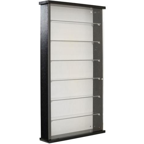 EXHIBIT - Solid Wood 6 Shelf Glass Wall Display Cabinet - Black