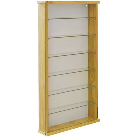 EXHIBIT - Solid Wood 6 Shelf Glass Wall Display Cabinet - Pine