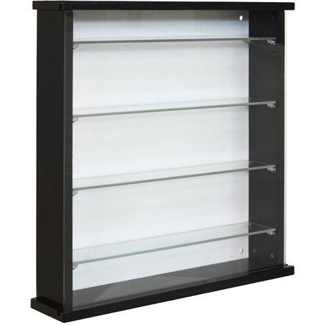 EXHIBIT - Wood 4 Shelf Glass Wall Display Cabinet - Black