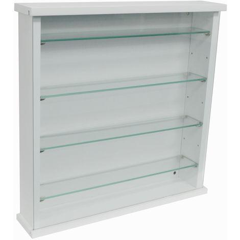 EXHIBIT - Wood 4 Shelf Glass Wall Display Cabinet - White